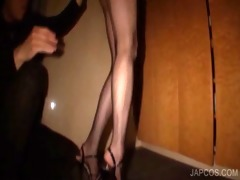 japanese in fishnets gives bj