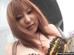 hot japanese hawt model angel flashing and