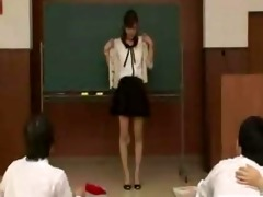 japanese teacher reluctantly undresses nude in