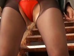 softcore asian upskirt stocking panty tease