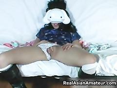 masked oriental bitch masturbates for part8