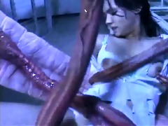 tentacle does spunk fountain on sexy asian cookie