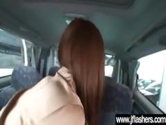 cute oriental girl flashing and fucking hard