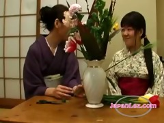 asian legal age teenager in kimono kissed getting