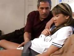 naughty oriental schoolgirl hard screwed by her