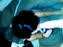 paki girl drinking cold swallow sucks on large