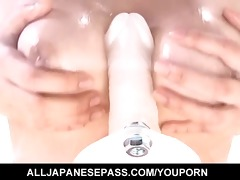 hatsumi kudo rides a inflexible sex toy and then
