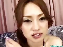 oriental hotty in bikini top getting her cunt
