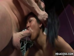 caged oriental playgirl gives orall-service and