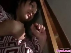 kimono wearing asians lesbo 2some
