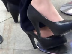 candid oriental dark pumps and stockings late
