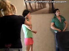 2 youthful oriental hotties drilled at a party