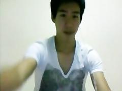 cute korean twink jerks off his large dick