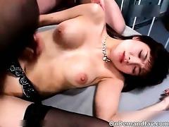 bushy ribald oriental slut with large milk shakes