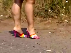 aged indian big beautiful woman mules walk