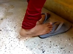 candid indian dipping in flipflops