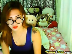 watch this cute oriental lady-man enjoy playing
