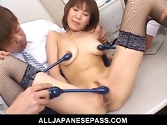 japanese cougar jun kusanagi engulfing shlong at