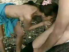 kobe tai receives frisky on the beach