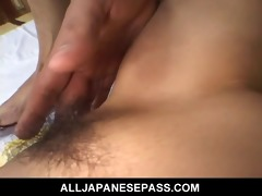 horny aged japanese cougar in a kimono rides a