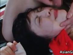 cute oriental brunette hair hoe sucks hard dick