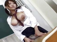 sexy japanese honey acquires jizz flow on milk
