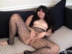 oriental hermine toying her hirsute pussy