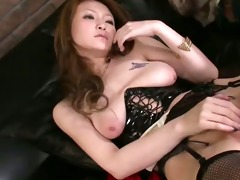 yuu grinds her cunt and then has her bawdy cleft