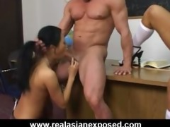 oriental schoolgirls shares vicious teacher