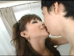 japanese beauty squirts, spits on cock, eats his