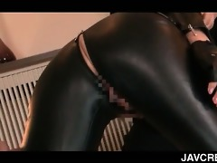 oriental tramp in latex cum-hole licked and