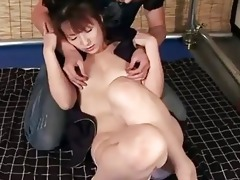 oriental hottie plays with her mans shlong