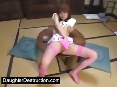oriental gal has joy with trio toys and...