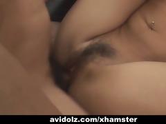 japanese playgirl acquires her hirsute cum-hole