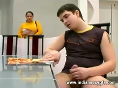 russian aged mama and son sex in dining room -