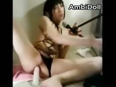 slim asian transsexual jerks off