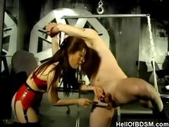 oriental dominatrix-bitch and her bound up serf