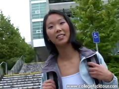 oriental gal gets screwed in a car