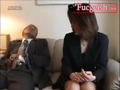 oriental businesswoman acquires trio precum on