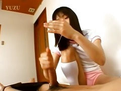 diminutive coed from asia gives handjob