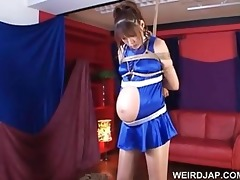 oriental preggy sex villein receives teased in