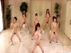 japanese cuties go nudist and workout with
