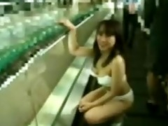 shy japanese schoolgirl streaks in an airport