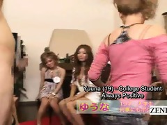 subtitles cfnm group of japanese gyaru penis