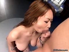 nasty oriental hottie sucks a large oriental