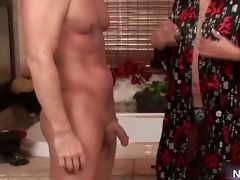 aroused excited asian chick jerking dudes