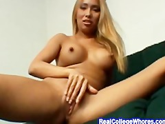 oriental undresses down and rubs love tunnel
