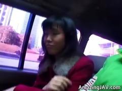 hawt oriental hottie in car having joy