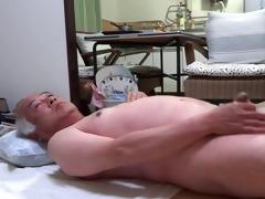 japanese old dude masturbation upright cock