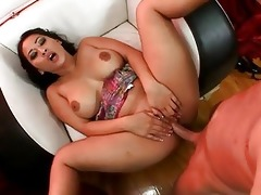 darksome haired oriental with massive hooters
